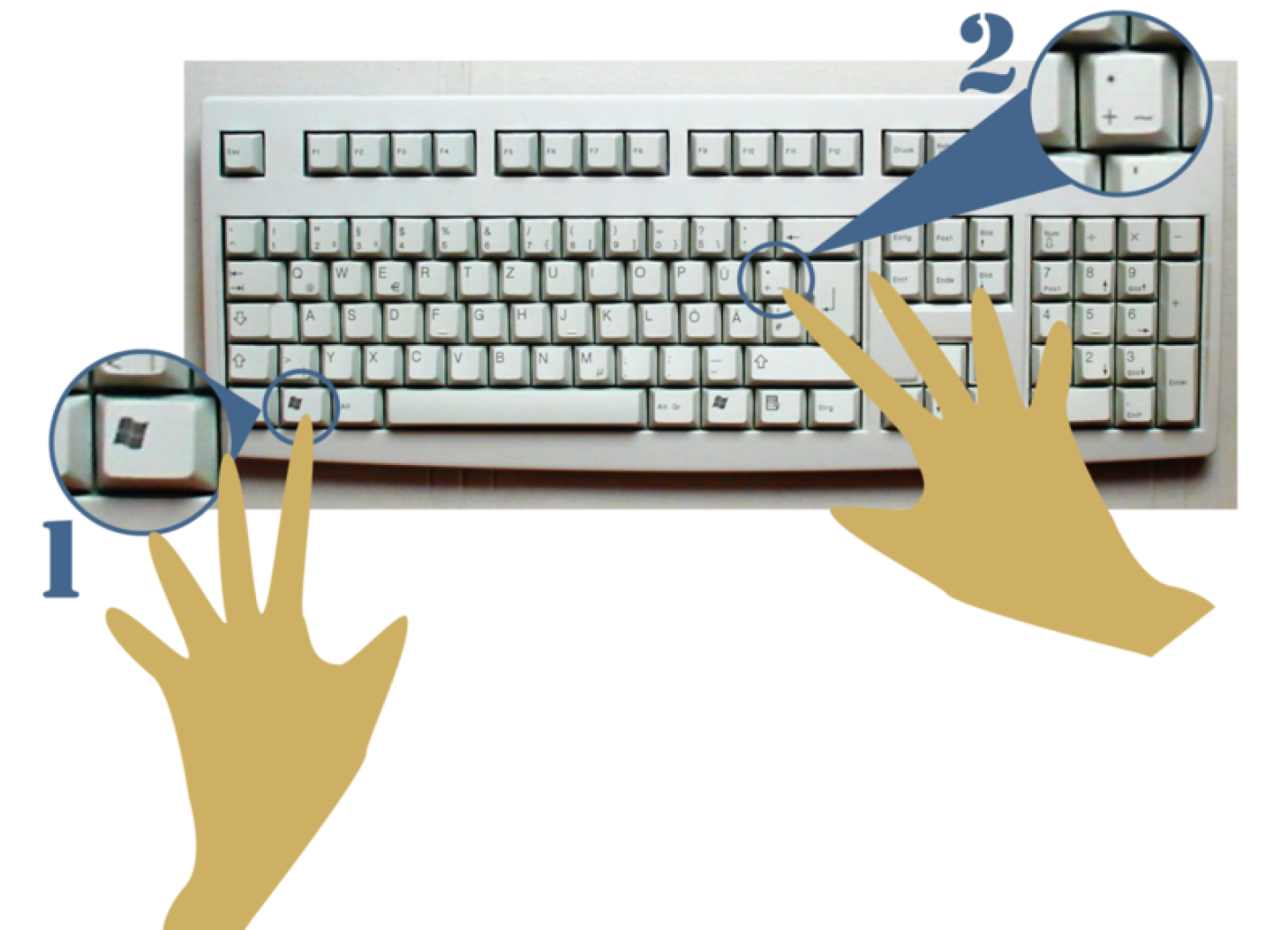 Graphic image showing a computer keyboard with two hands