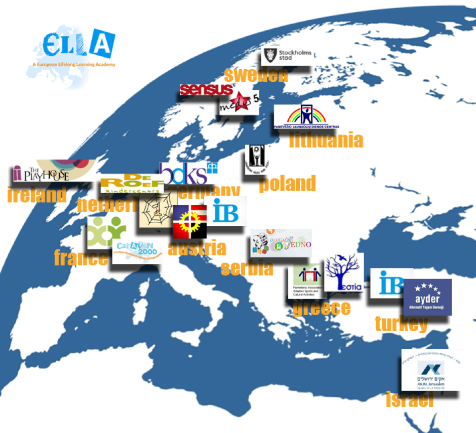 Picture showing a part of the globe with logos of the 19 organisations on it