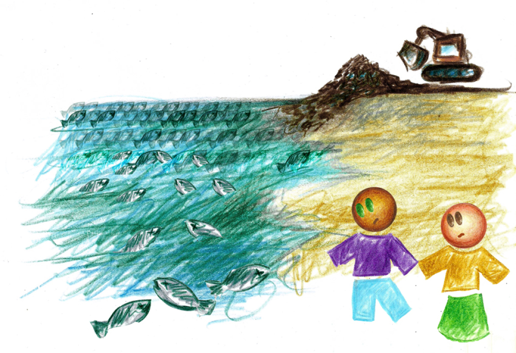 DRAWING SHOWING TRASH BEING UNLOADED INTO THE SEA AND THE FISH ARE DEAD IN THE WATER