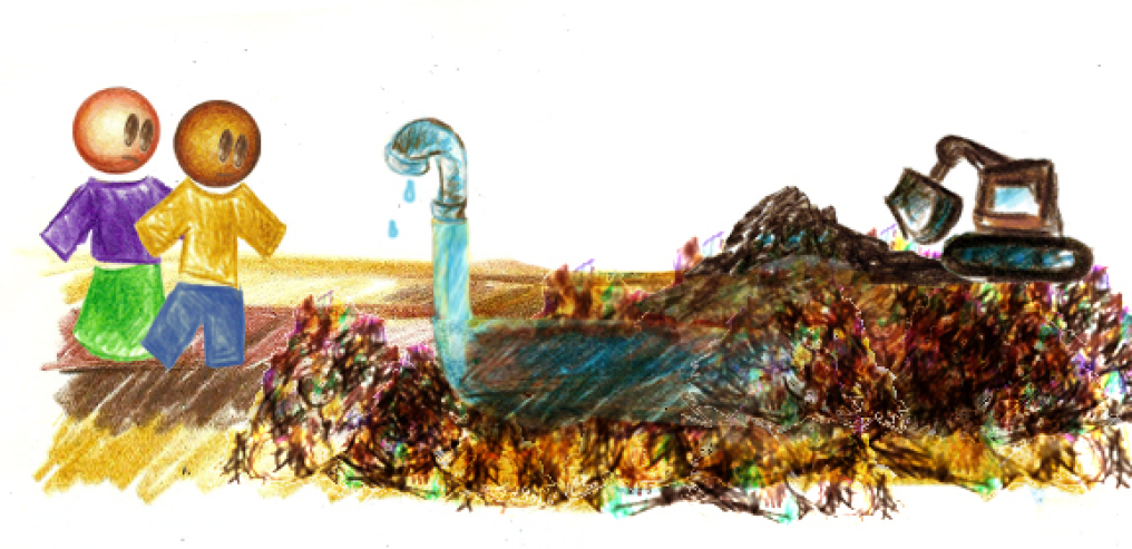 DRAWING SHOWING TRASH BEING UNLOADED UNDER THE GROUND AND POLLUTING THE GROUND WATER