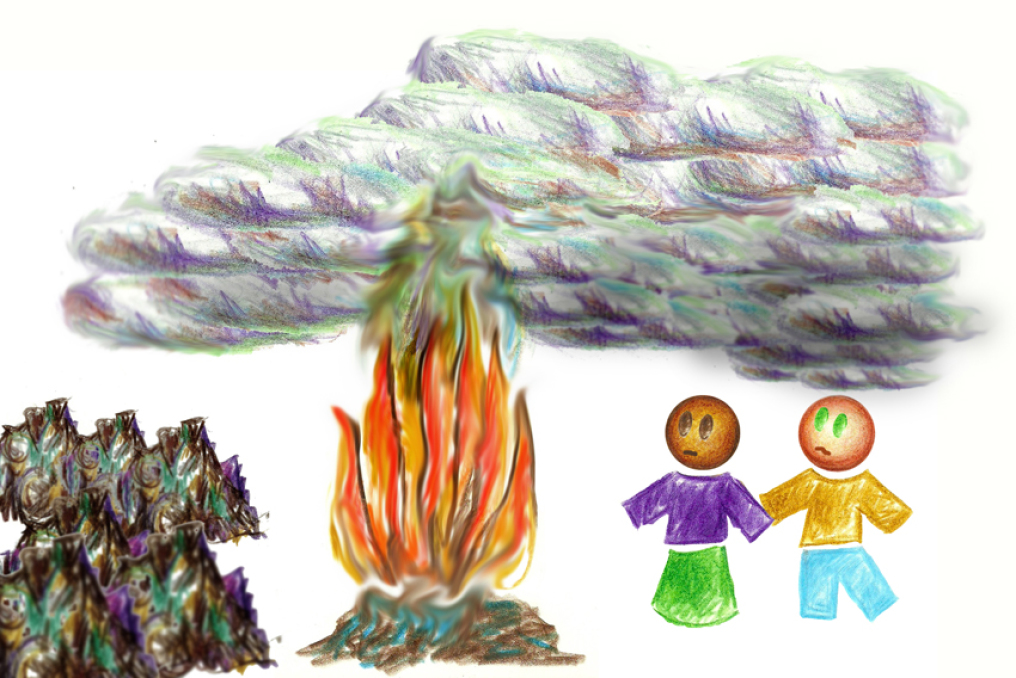 DRAWING SHOWING TRASH BEING BURNED AND THE GASS POLLUTING THE AIR